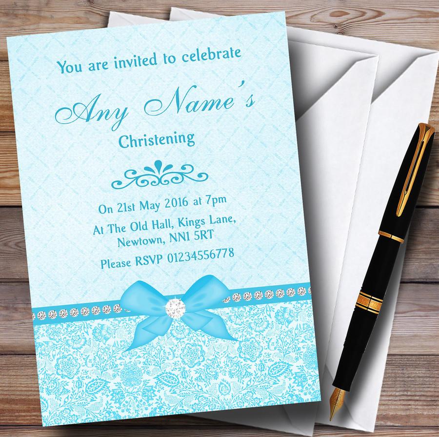 Pretty Floral Vintage Bow & Diamante Aqua Sky Blue Customised Christening Invitations