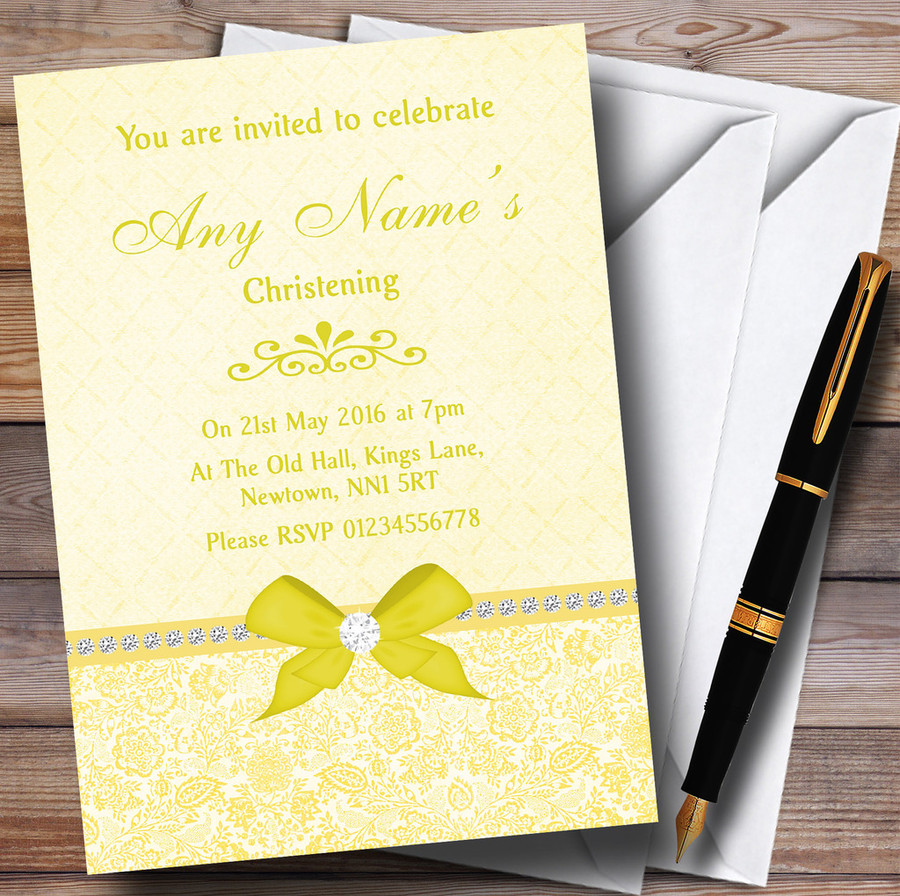 Pretty Floral Vintage Bow & Diamante Yellow Customised Christening Invitations