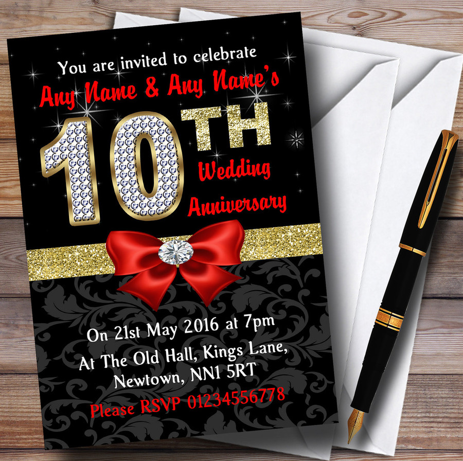 Red Black Gold Diamond Wedding Anniversary Party Customised Invitations