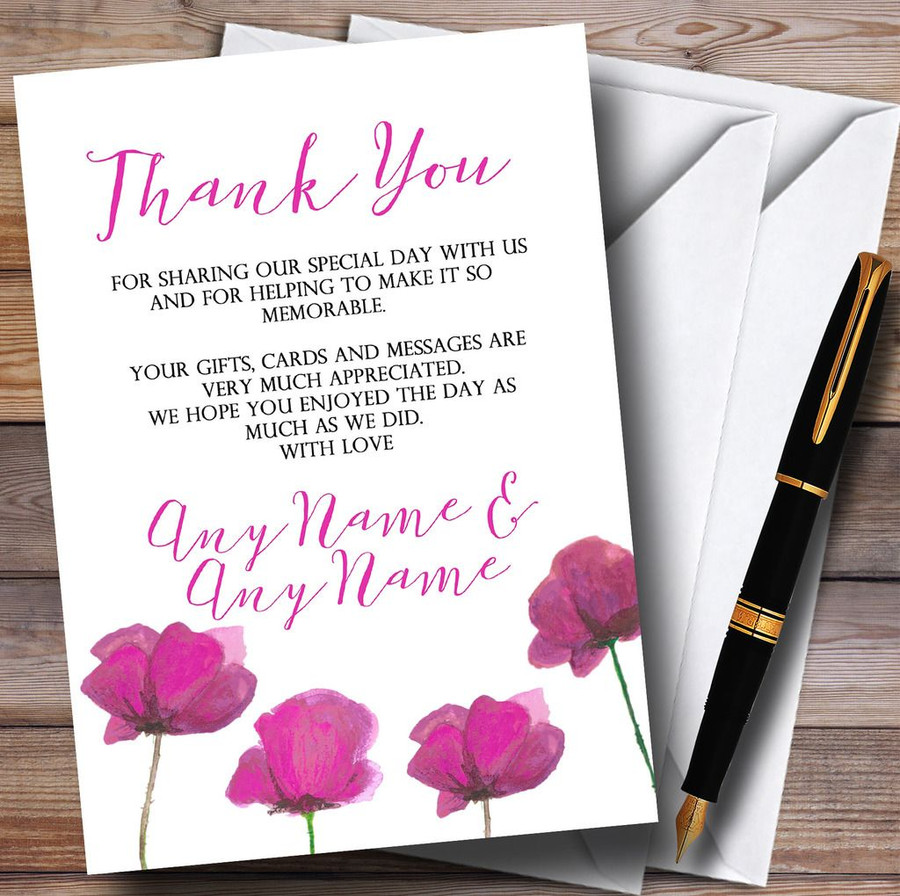 Stunning Watercolour Poppies Pink Customised Wedding Thank You Cards
