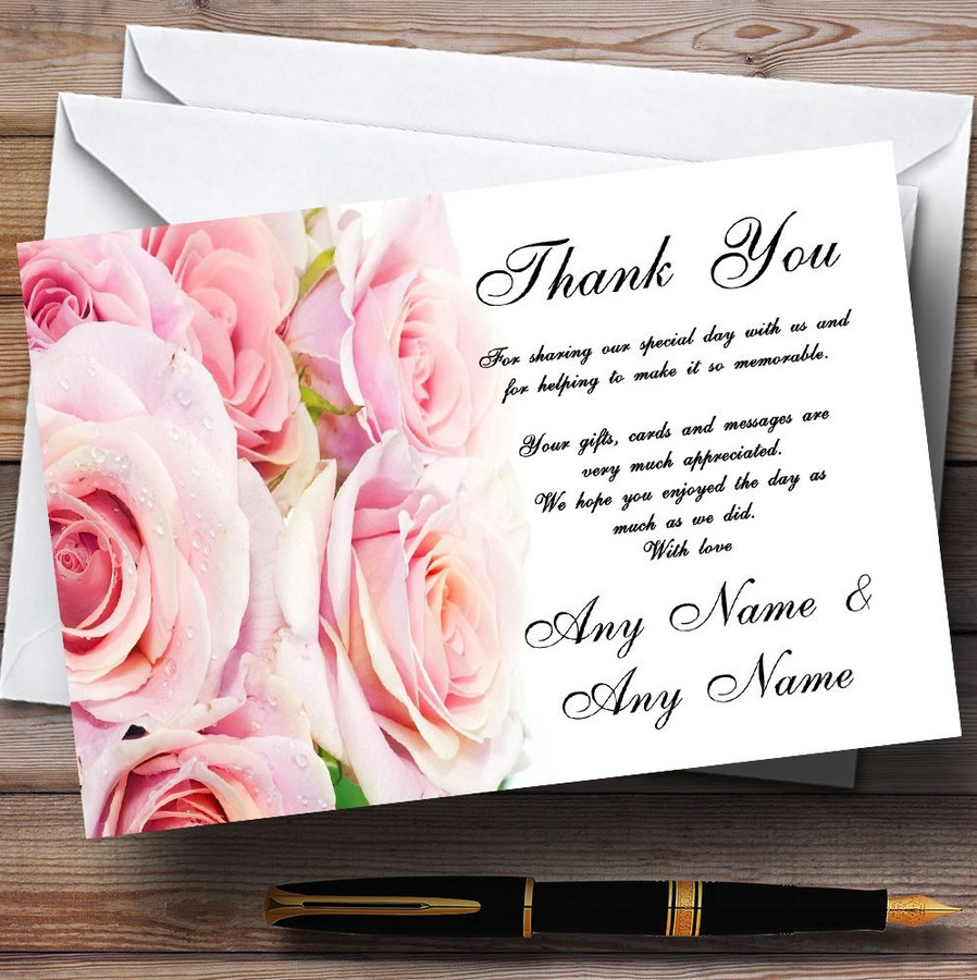 Gorgeous Pastel Pink Wet Roses Customised Wedding Thank You Cards