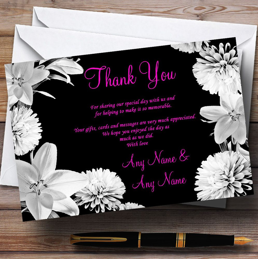 Stunning Lily Flowers Black Pink White Customised Wedding Thank You Cards