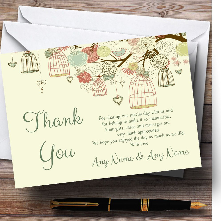 Vintage Shabby Chic Birdcage Pale Yellow Customised Wedding Thank You Cards