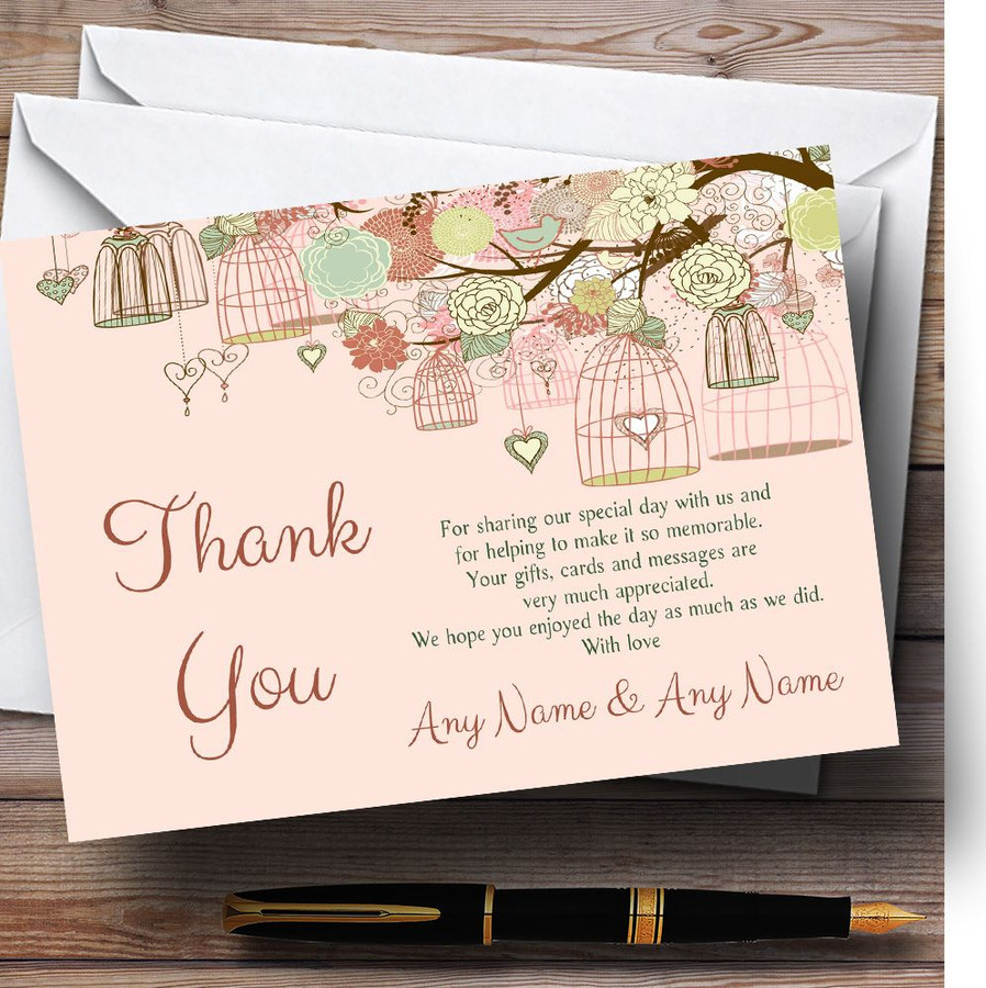 Vintage Shabby Chic Birdcage Coral Customised Wedding Thank You Cards