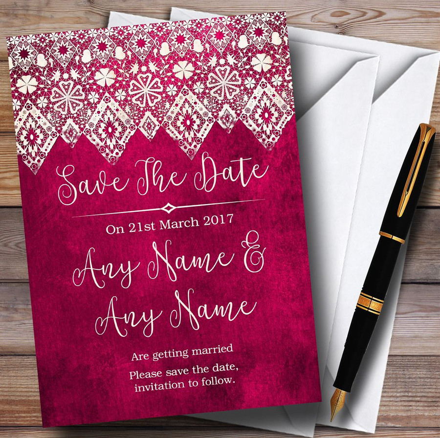 Berry Pink Old Paper & Lace Effect Customised Save The Date Cards