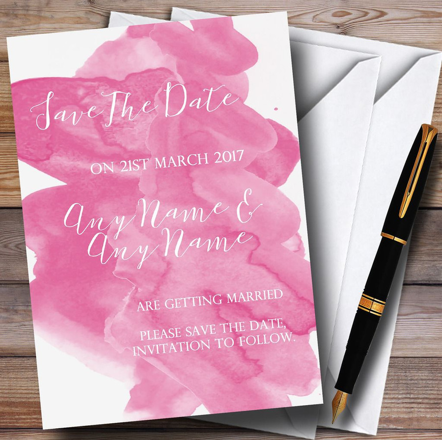 Warm Pink Watercolour Customised Wedding Save The Date Cards
