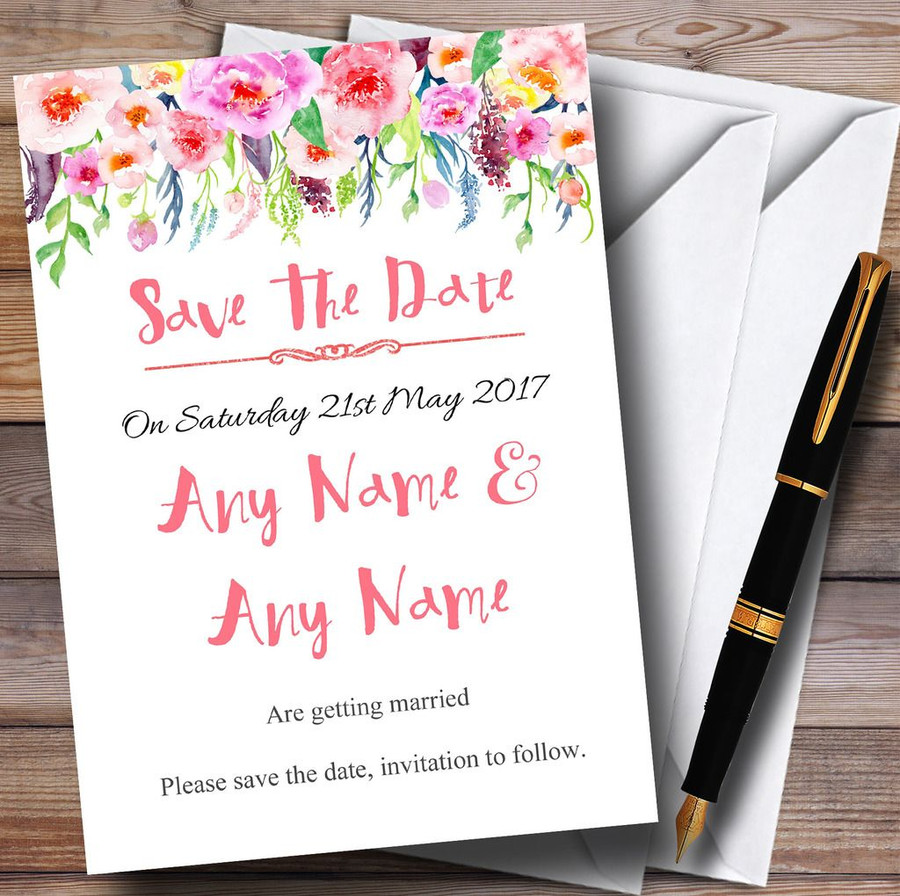 Coral Pink Watercolour Floral Customised Wedding Save The Date Cards