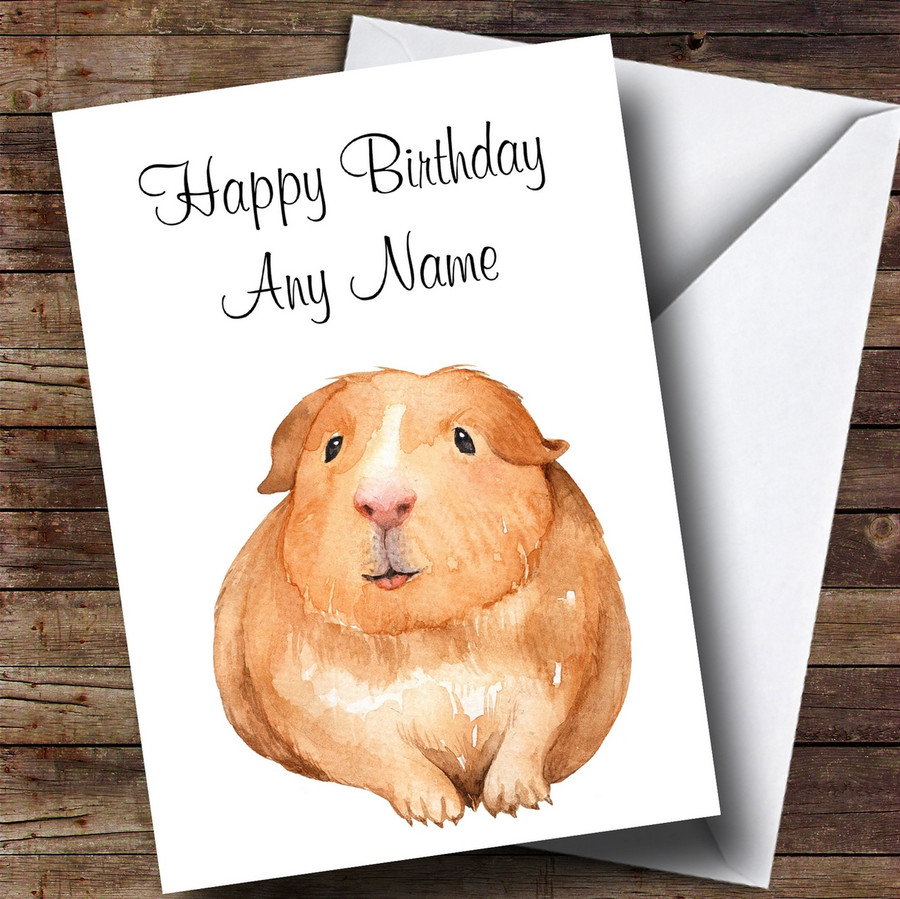 Cute Watercolour Guinea Pig Customised Birthday Card
