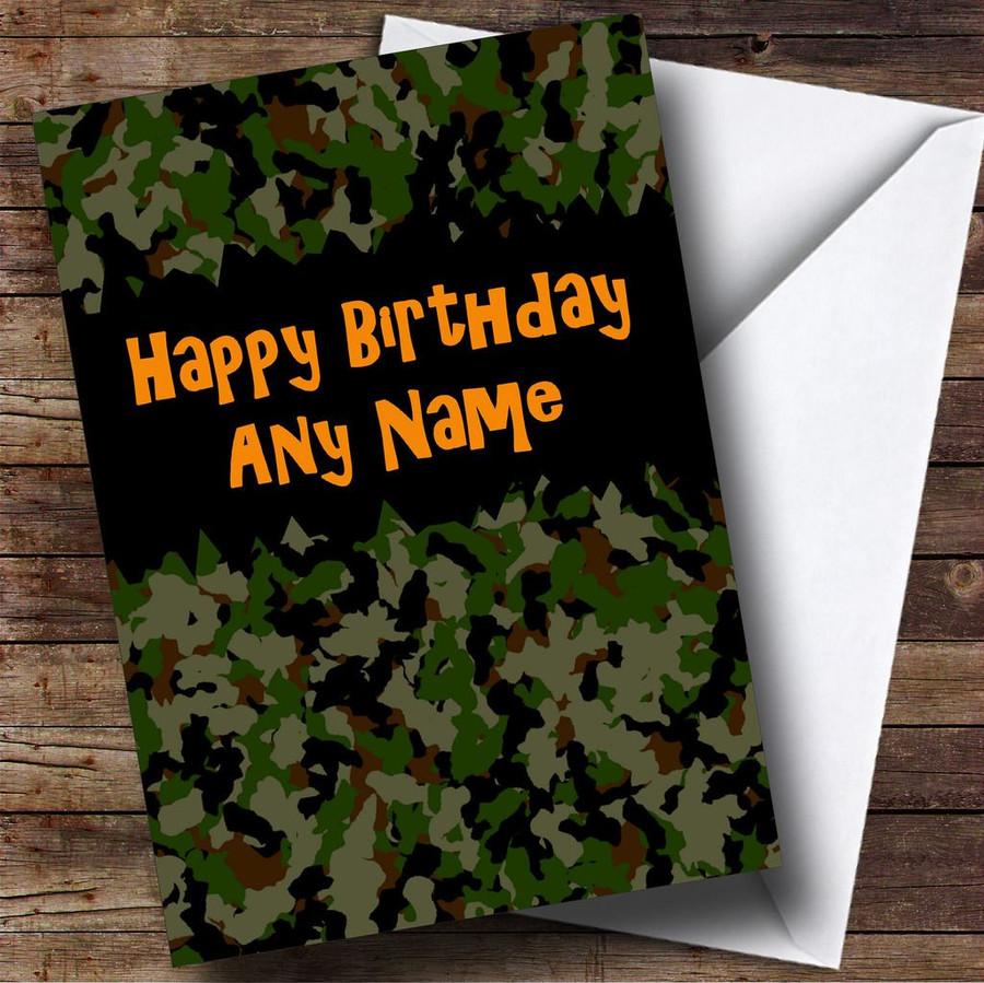 Army Camouflage Customised Birthday Card