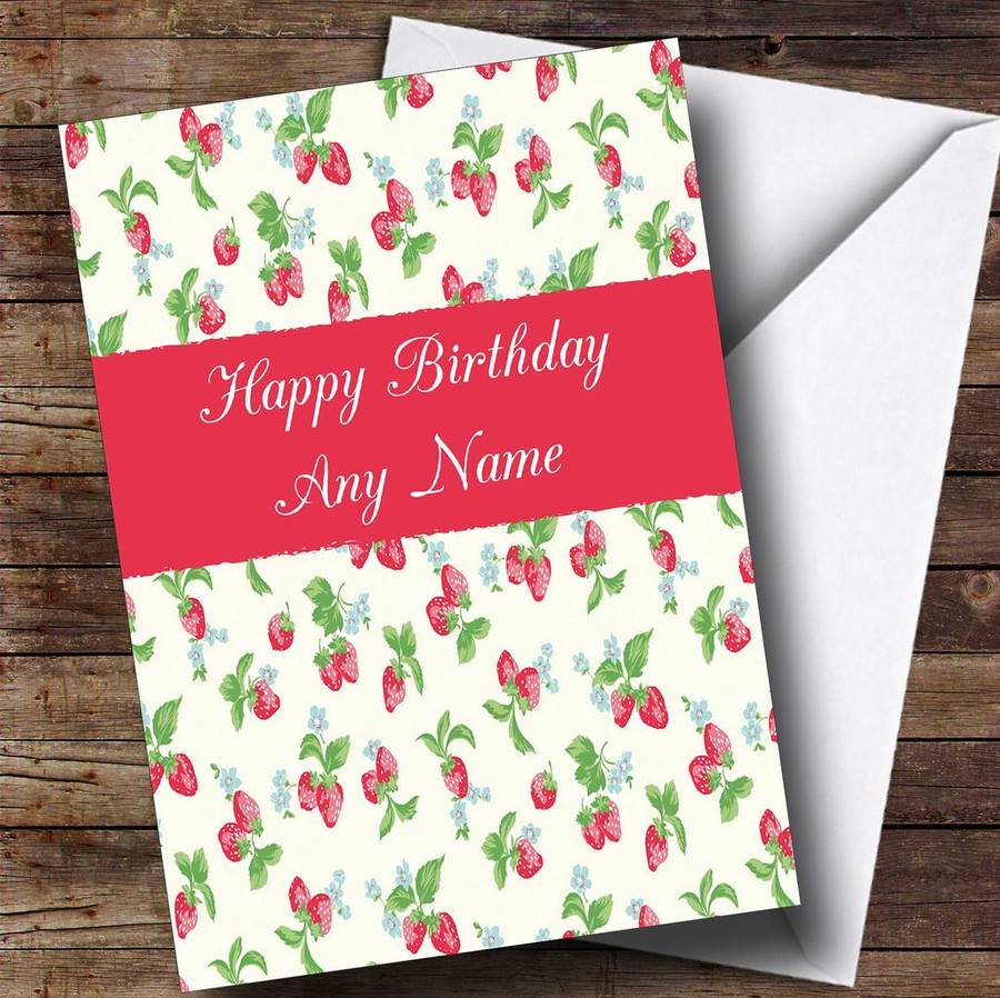Strawberry Customised Birthday Card