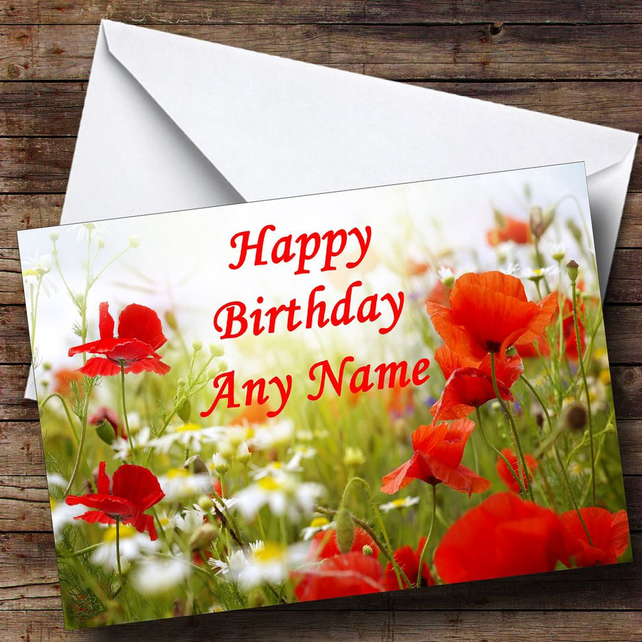 Poppy Flowers Customised Birthday Card