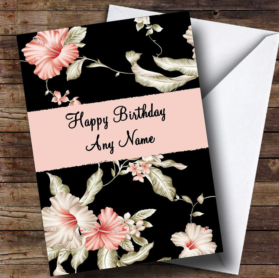 Stunning Black Vintage Floral Customised Birthday Card