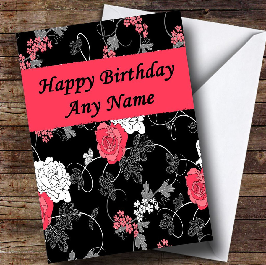 Pretty Black Vintage Floral Customised Birthday Card
