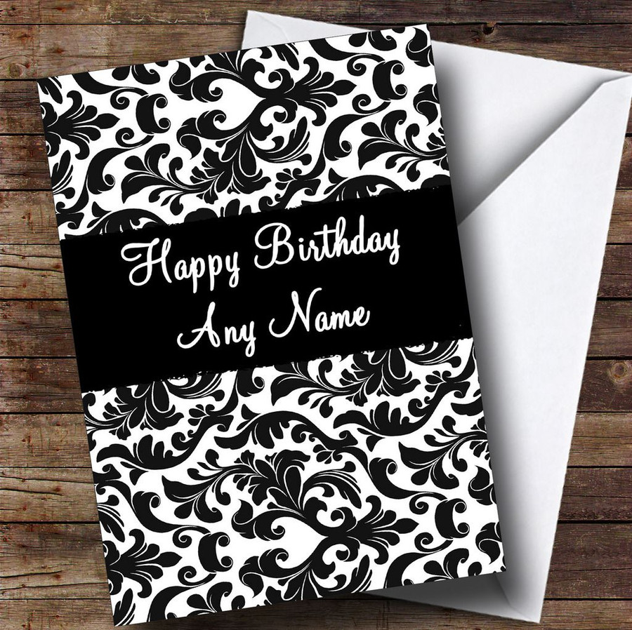 Black & White Damask Customised Birthday Card