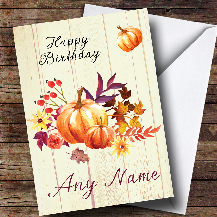 Pumpkin Floral Wood Customised Birthday Card