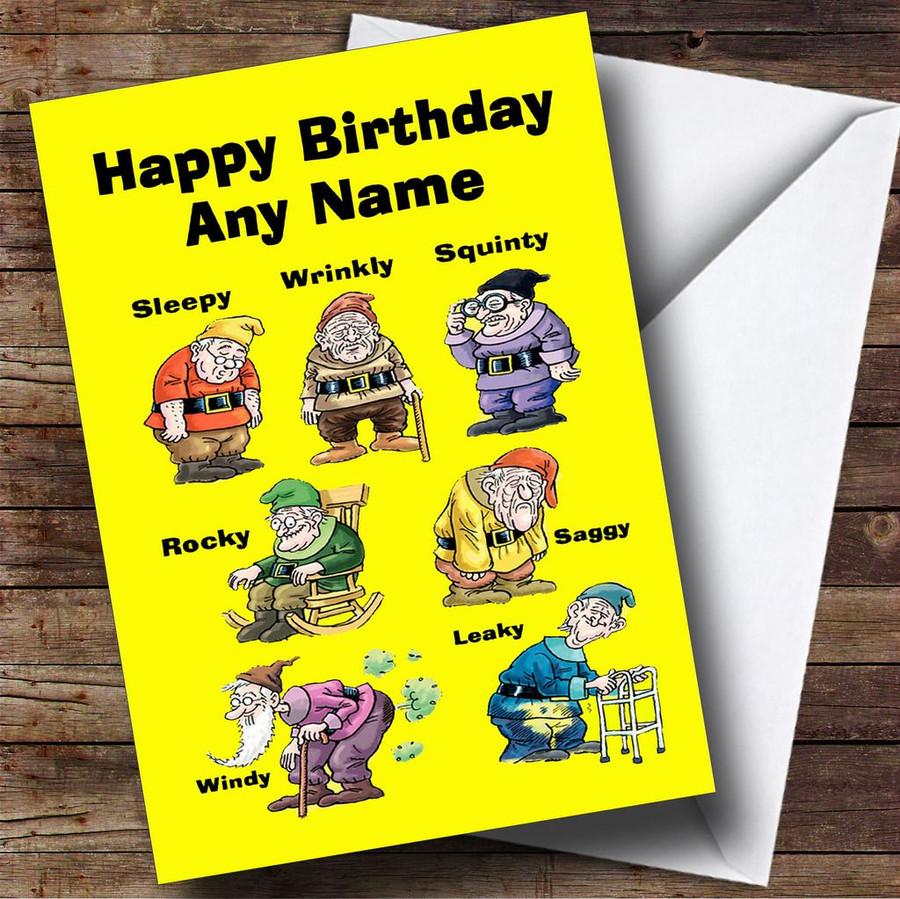 Funny Old Age Dwarfs Customised Birthday Card