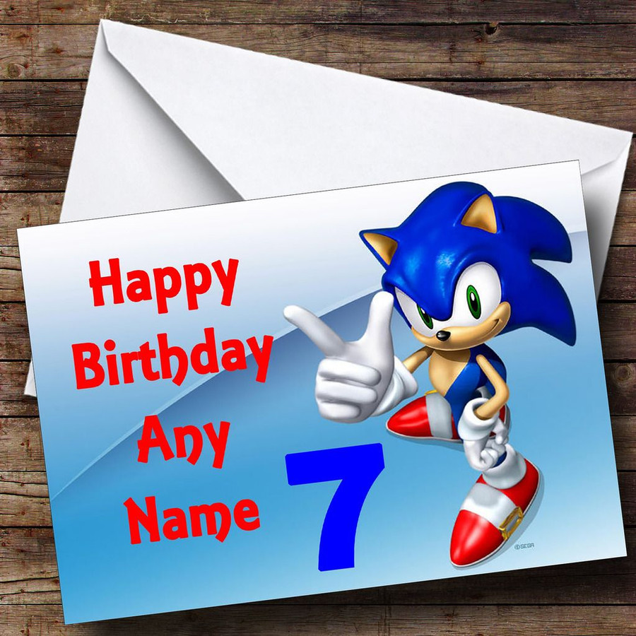 Sonic The Hedgehog Pointing Customised Birthday Card