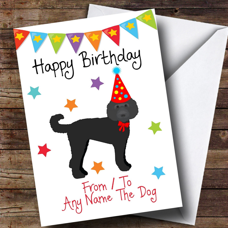 To From Pet Black Labradoodle Customised Birthday Card