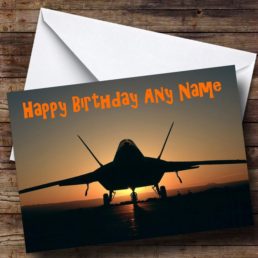 Plane At Sunset Customised Birthday Card