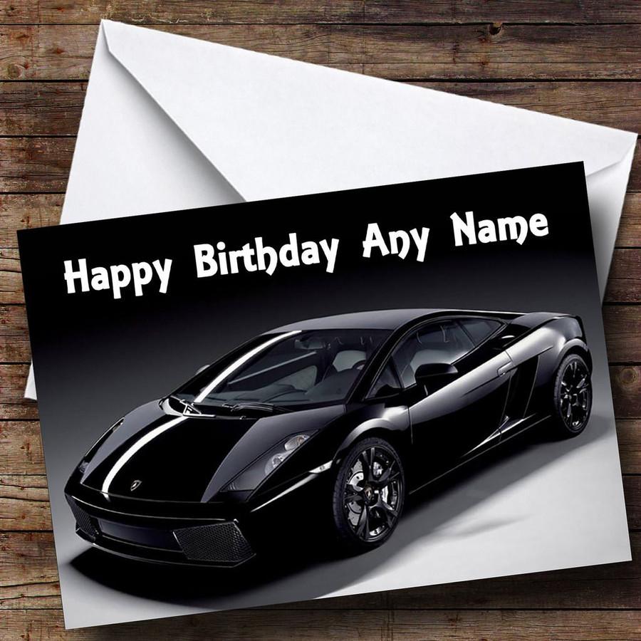 Black Lamborghini Gallardo Customised Birthday Card