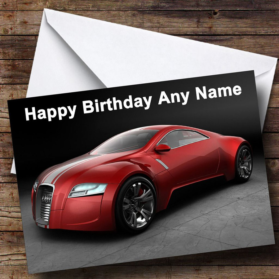 Red Audi Customised Birthday Card