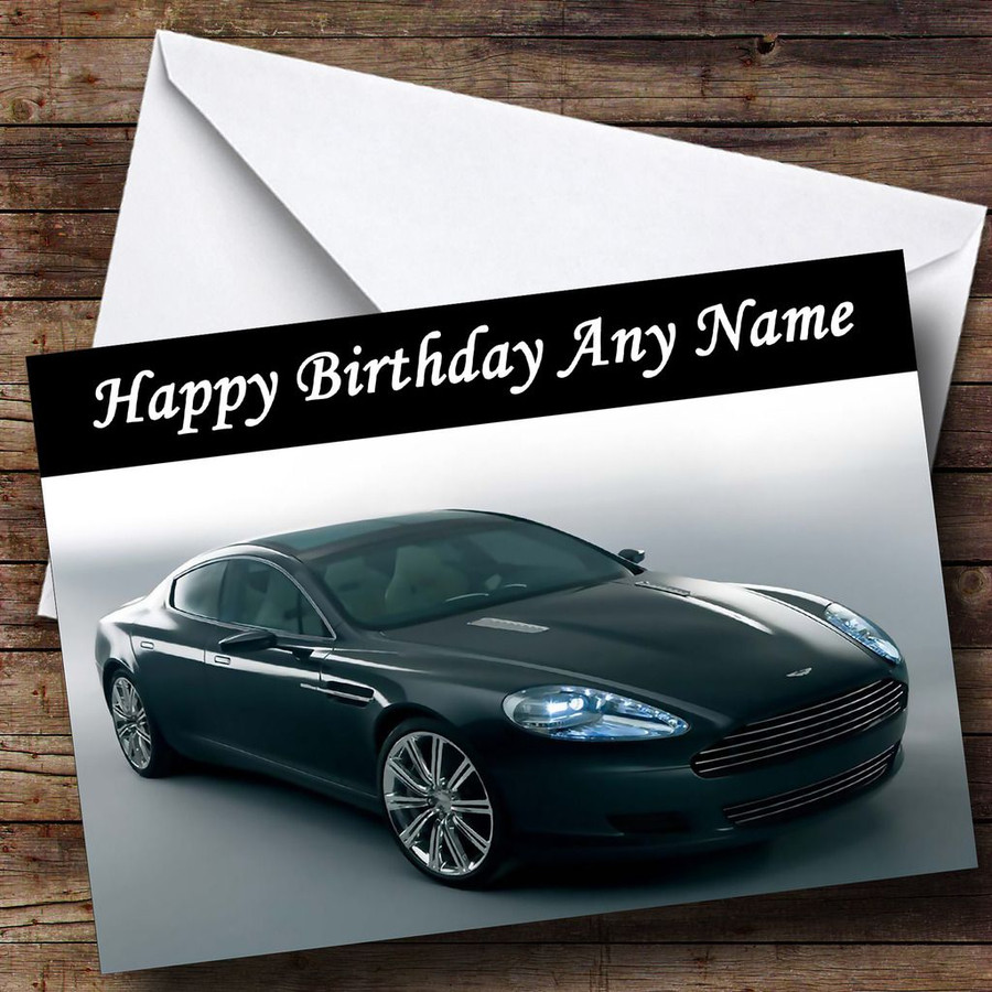 Aston Martin Black Rapide Customised Birthday Card