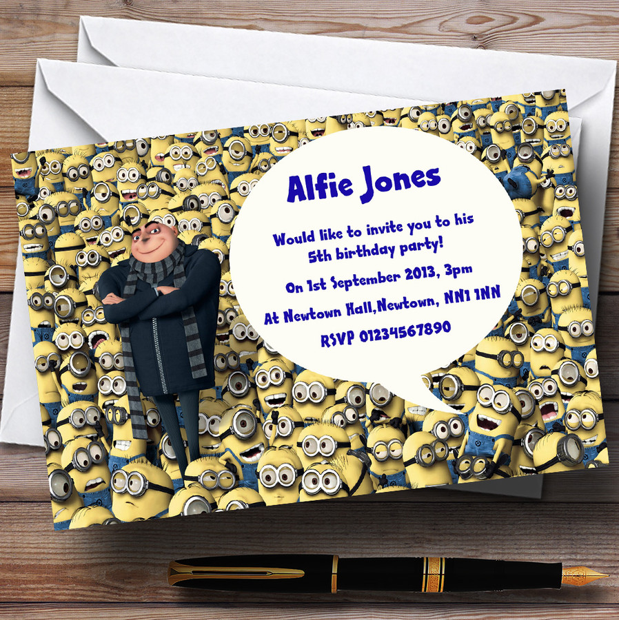 Despicable Me Minions Customised Children's Party Invitations