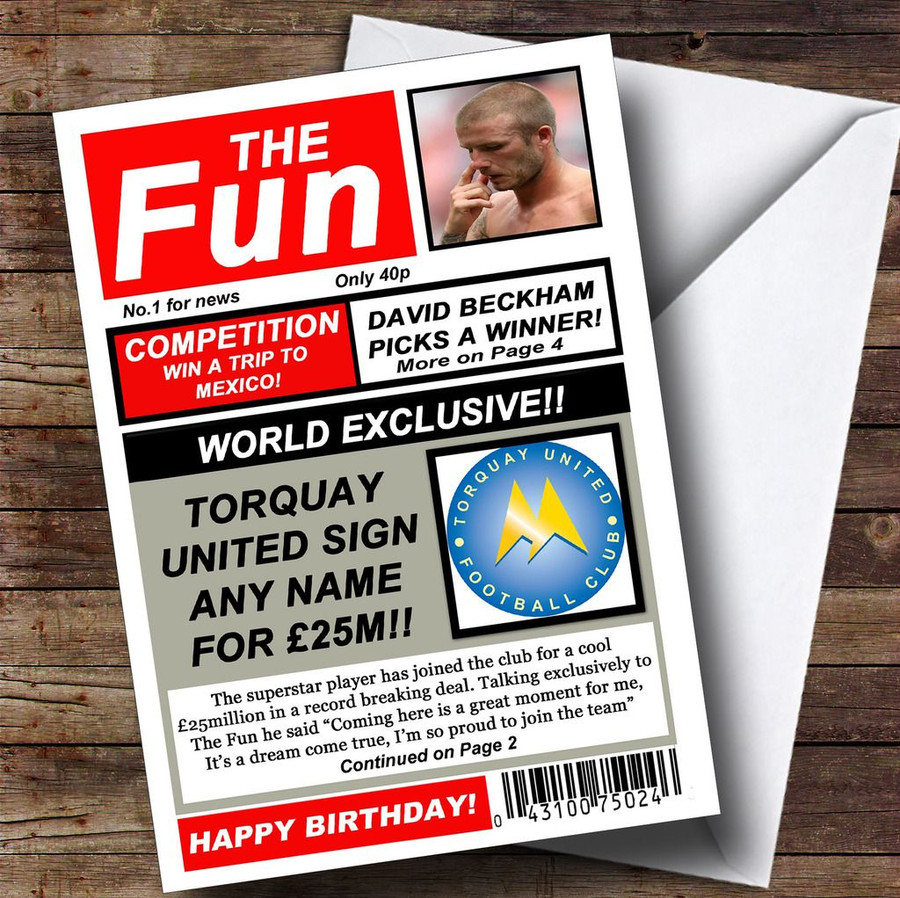 Torquay United Football Fan Funny Newspaper Customised Birthday Card