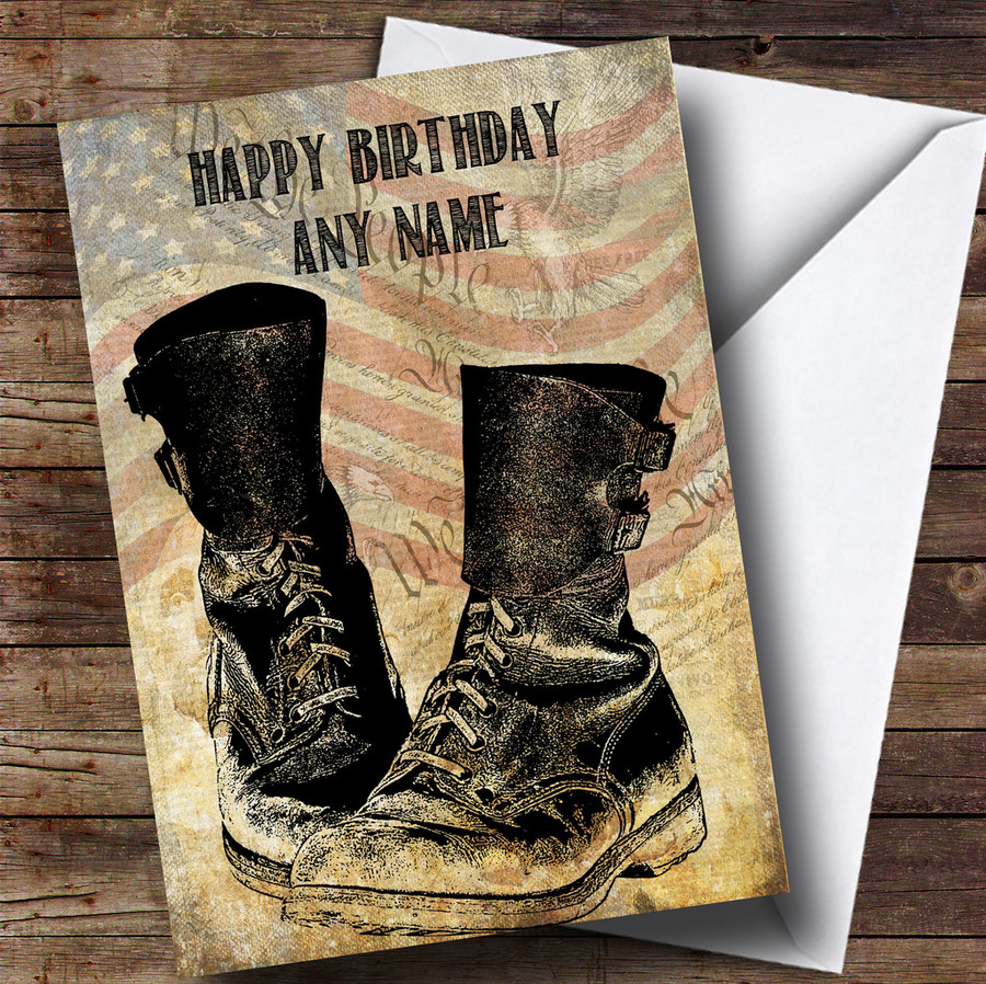 Army Boots American Flag Customised Birthday Card
