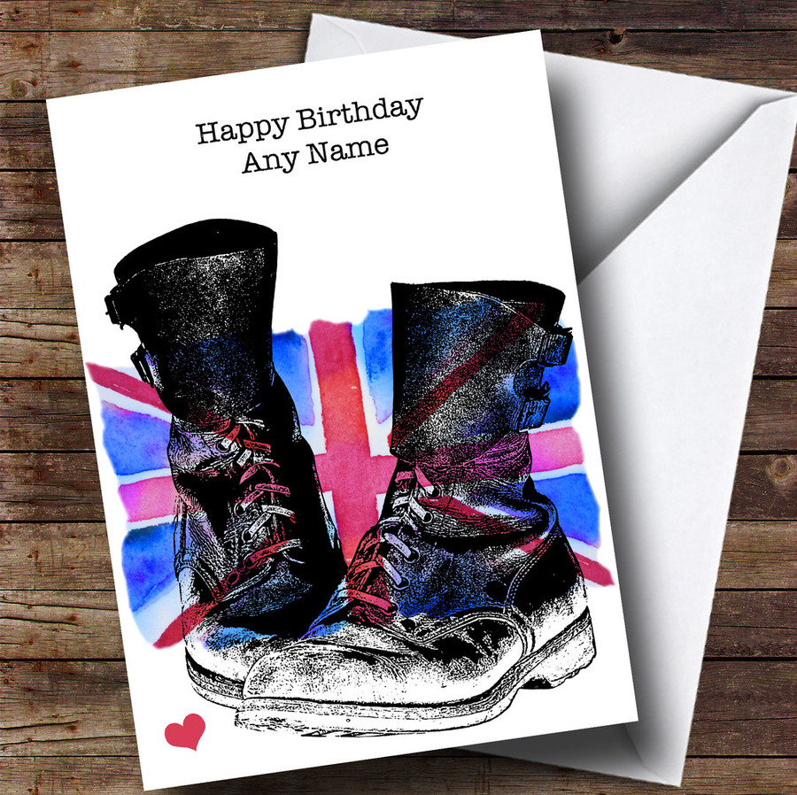 Military Boots & Union Jack UK Flag Customised Birthday Card