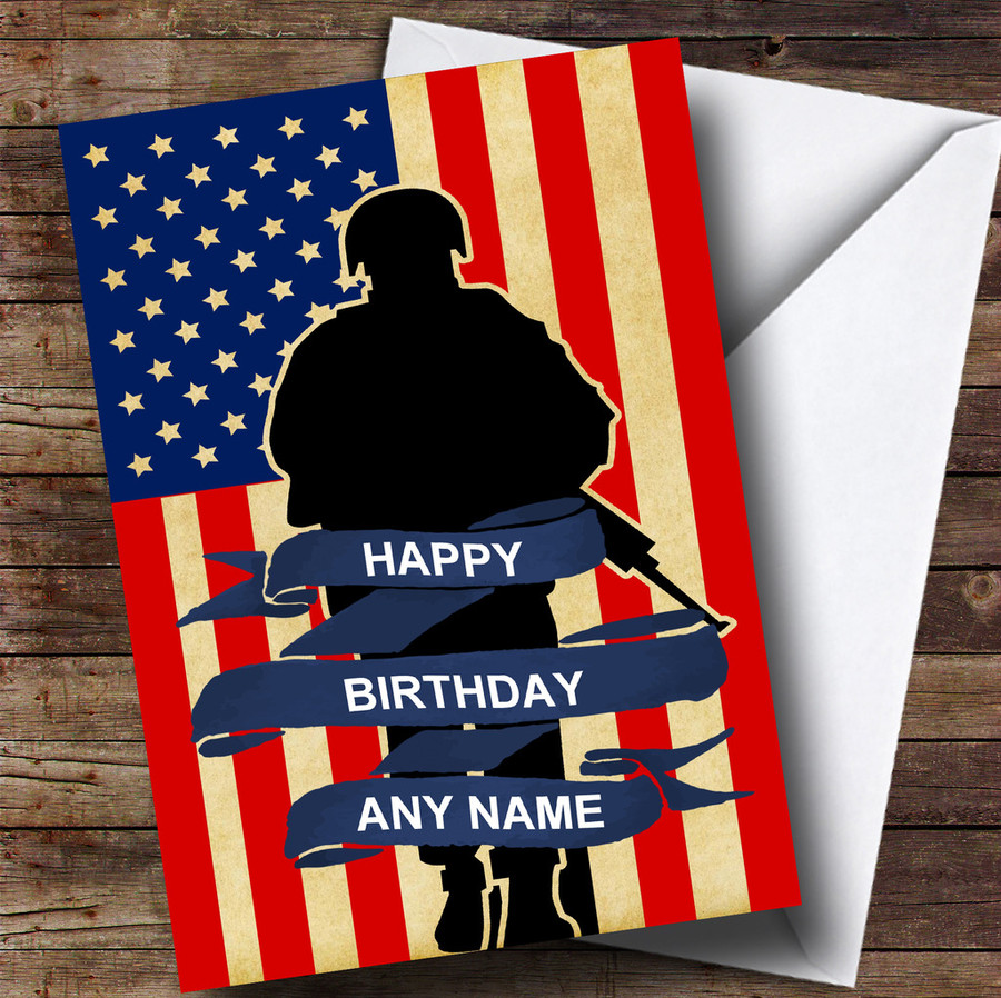 Soldier & American Flag Customised Birthday Card
