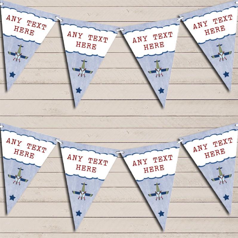 Green /& Blue Vintage Plane Children/'s Birthday Bunting Garland Party Banner