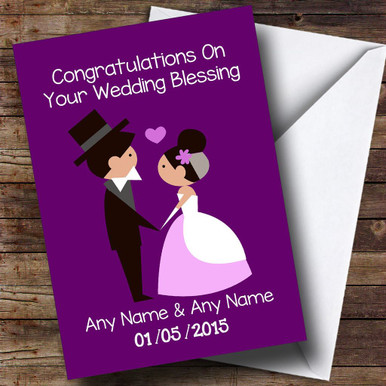 Doodle Happy Couple Wedding Blessing Customised Card
