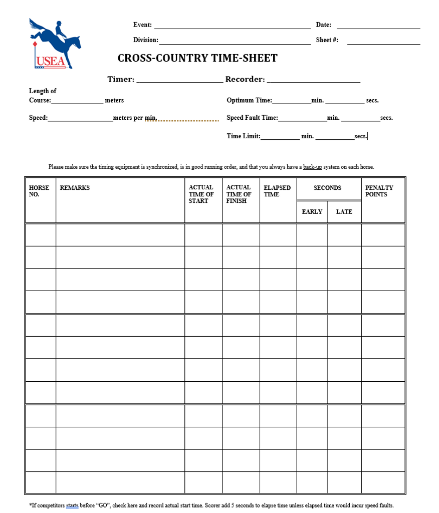 Cross Country Time Scoresheet