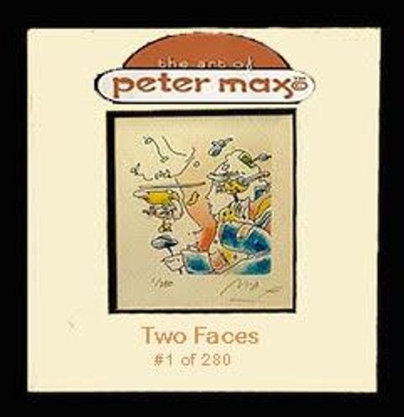 """Peter Max Autographed Print """"Two Faces"""""""