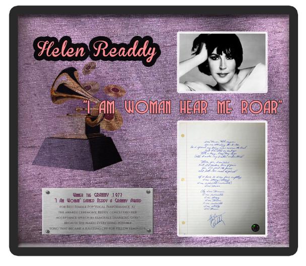 """""""I Am Woman"""" signed lyrics by Helen Reddy"""