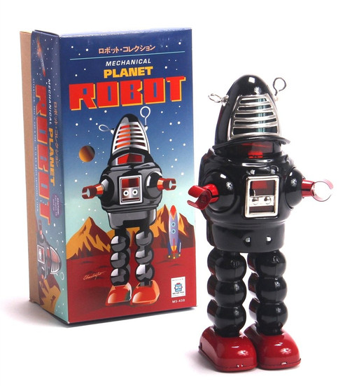 Planet Robot Classic Metal Wind Up Red or Black