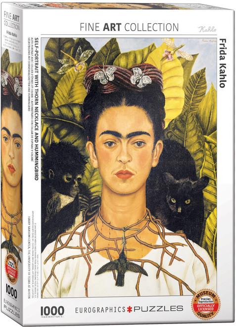 Self Portrait with Thorn Necklace and Hummingbird by Frida Kahlo 1000 Piece Puzzle