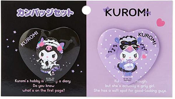 Kuromi Tsundere Cafe Mascot Badge Set