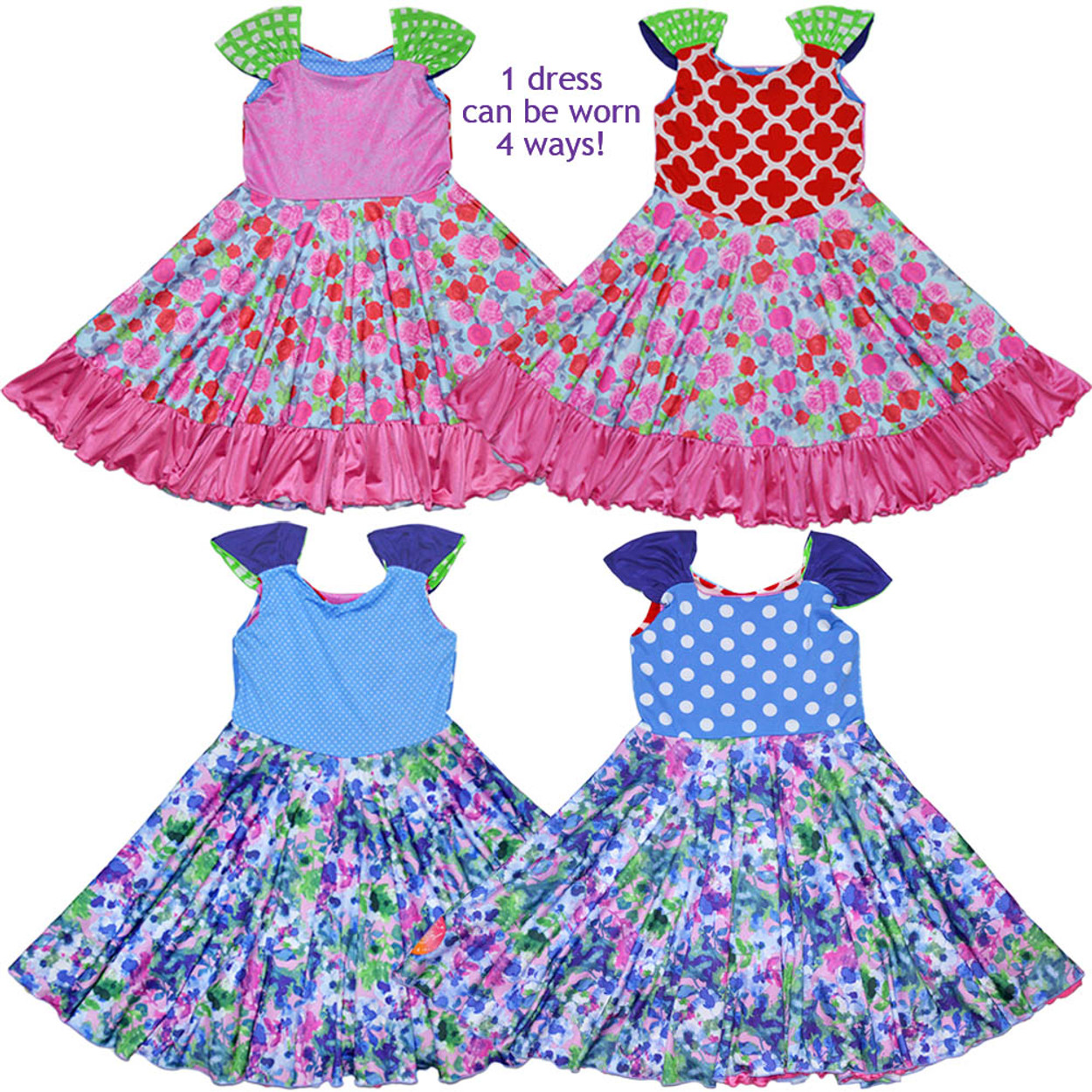 c8f8d050a Twirly Girl Twirling Dress for Girls Reversible Darling 4 Way Design ...
