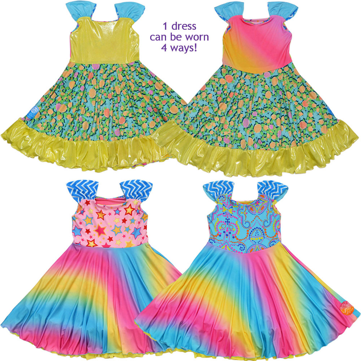 aa311236ad03 Twirly Girl Twirling Dress for Girls Reversible 4 Way Design Unique Fun USA  Made