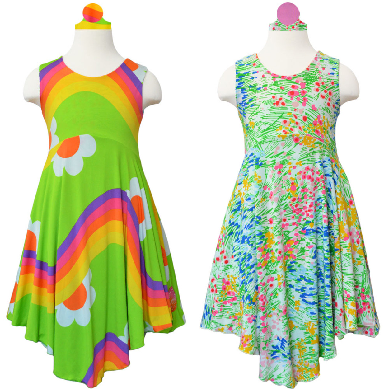 33f156258 Twirly Girl Girls Full Circle Skirt Dress Reversible Sleeveless ...