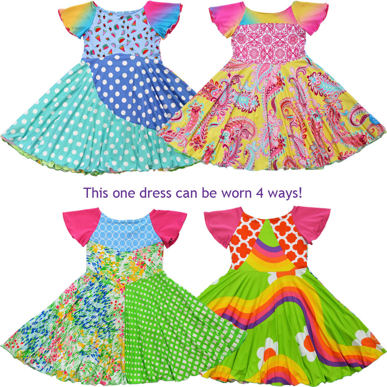 d328a8a12 Twirly Girl Girls Unique 4 Way Reversible Dress Colorful Soft Pretty USA  Made