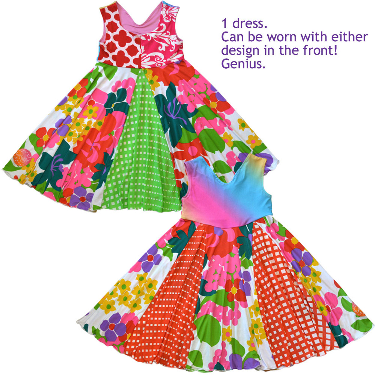 8e22dbce8 Twirly Girl Unique 2 Way Girls Dress Retro Flowers Rainbow Spin Cute ...