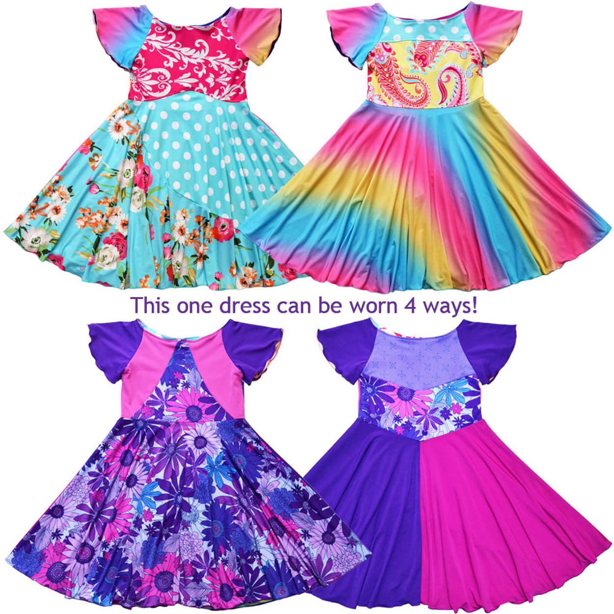 e51932964 Twirly Girl Young Girls Swirly Full Circle Skirt 4 Way Reversible ...