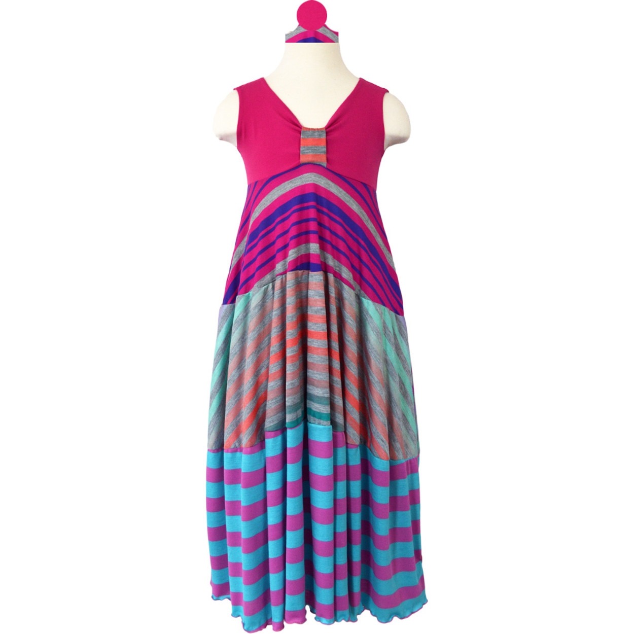 66faaba9b4 Twirly Girl Maxi Dresses for Kids Girls 70 s Style Cool Stripes Swirly  Colorful