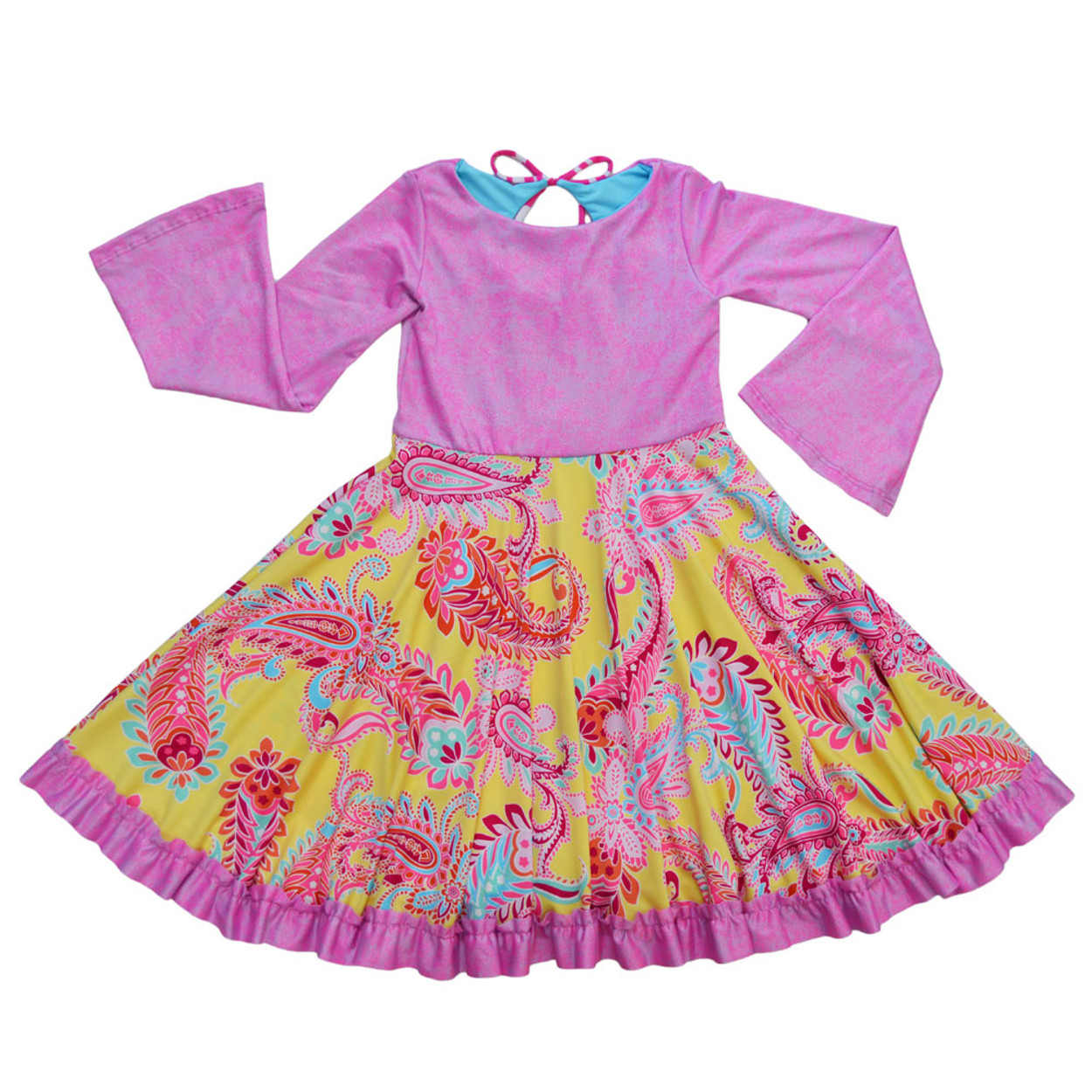 6777ac244 Twirly Girl Pink Girls Dresses Pretty Swirly Fun Long Sleeve Holiday with  Ruffle