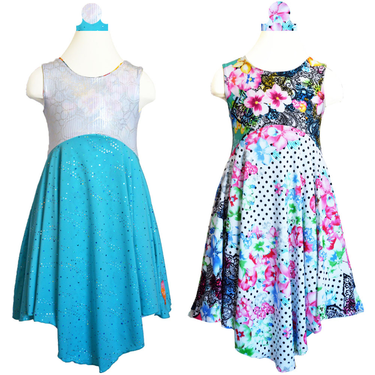 d764d05403e6 Twirly Girl Girls Summer Dress Reversible Sparkly Pretty Turquoise & Polka  Dots