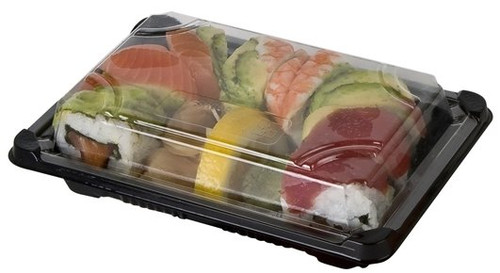 Black Sushi Container Base & Lid [QA-05] 165x90x22mm (a pack of 800 set)