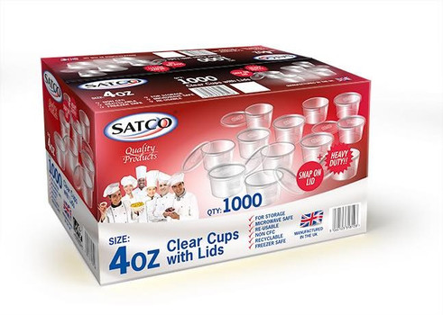Satco [4oz] Round Container and Lid ( a pack of 1000 base and lids)